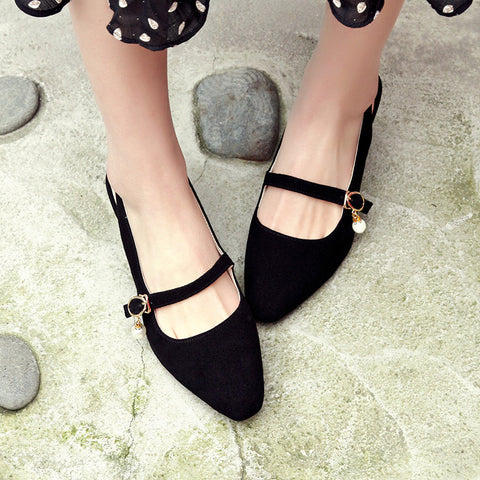 Suede Square Toe Block Heel Pearl Belt Slingback Sandals 9 Black