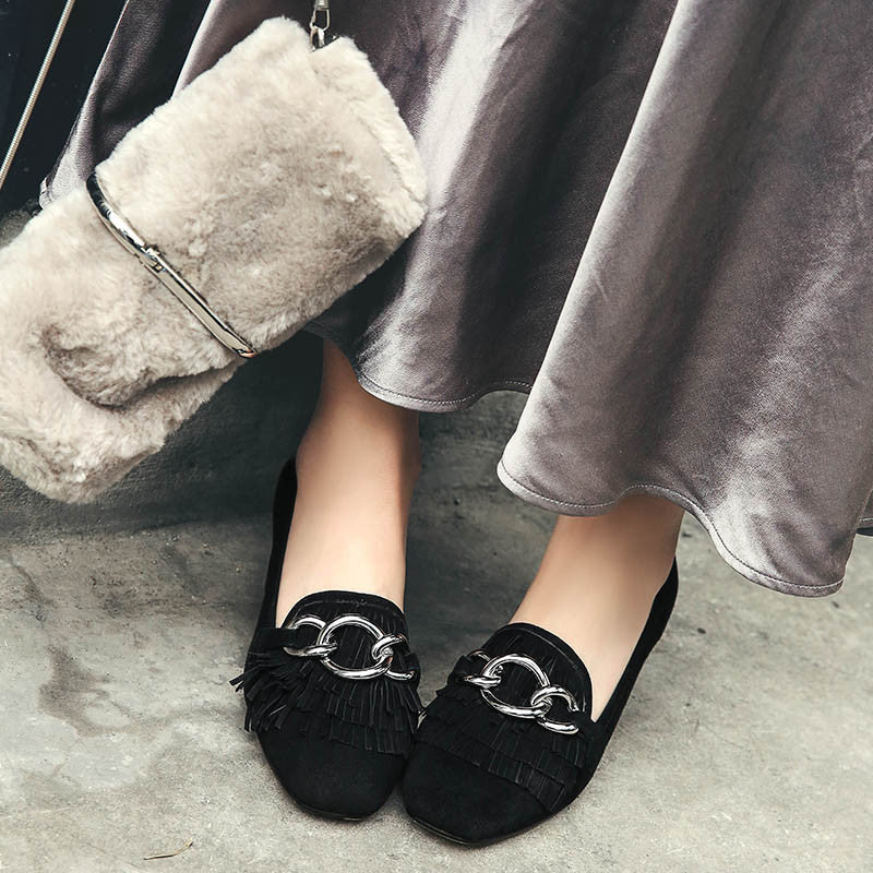 Suede Square Toe Block Heel Tassel Metal Embellished Loafers 7 Black