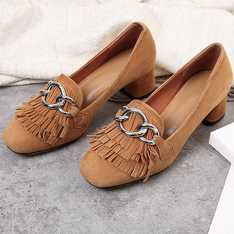 Suede Square Toe Block Heel Tassel Metal Embellished Loafers 6.5 Brown