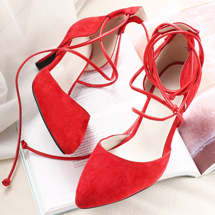 Suede Pure Color Cross Strap Sexy Pointy Toe Stiletto Lace Up Sandals 8 Red