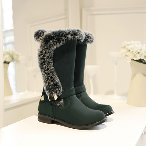 Suede Pure Color Round Toe Buckle Fur Mid-caf Low Heel Boots 43 Green