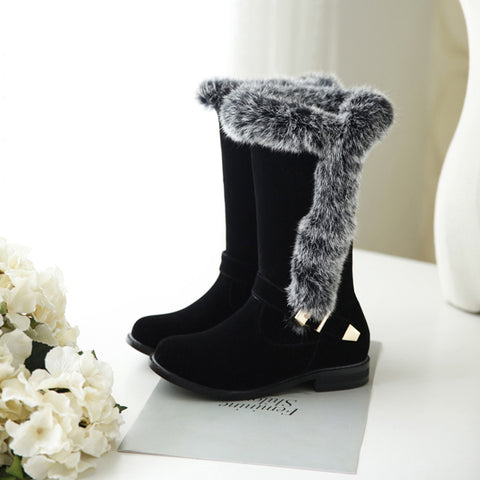 Suede Pure Color Round Toe Buckle Fur Mid-caf Low Heel Boots 43 Black