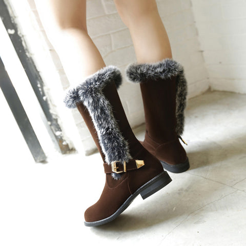 Suede Pure Color Round Toe Buckle Fur Mid-caf Low Heel Boots 42 Brown