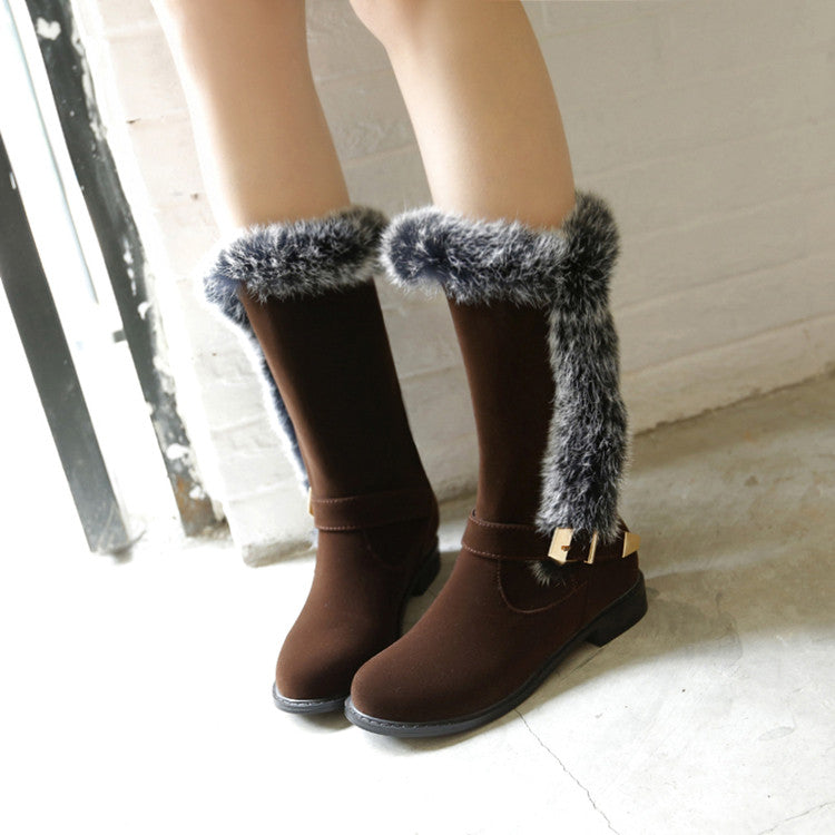 Suede Pure Color Round Toe Buckle Fur Mid-caf Low Heel Boots 41 Brown