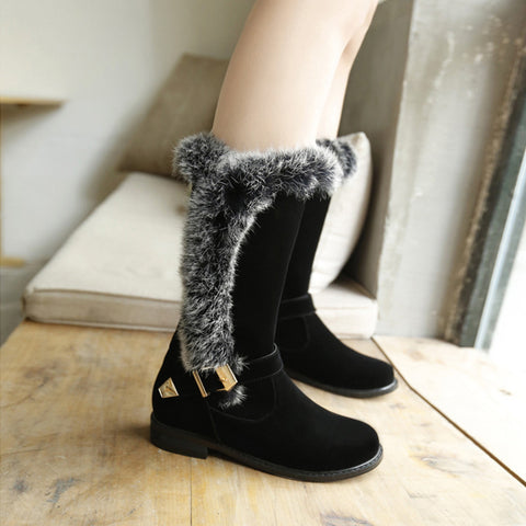 Suede Pure Color Round Toe Buckle Fur Mid-caf Low Heel Boots 41 Black