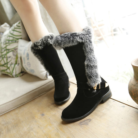Suede Pure Color Round Toe Buckle Fur Mid-caf Low Heel Boots 42 Black