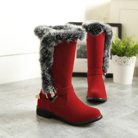 Suede Pure Color Round Toe Buckle Fur Mid-caf Low Heel Boots 43 Red