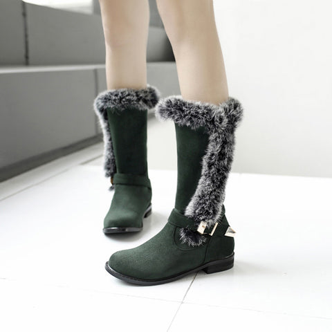Suede Pure Color Round Toe Buckle Fur Mid-caf Low Heel Boots 41 Green