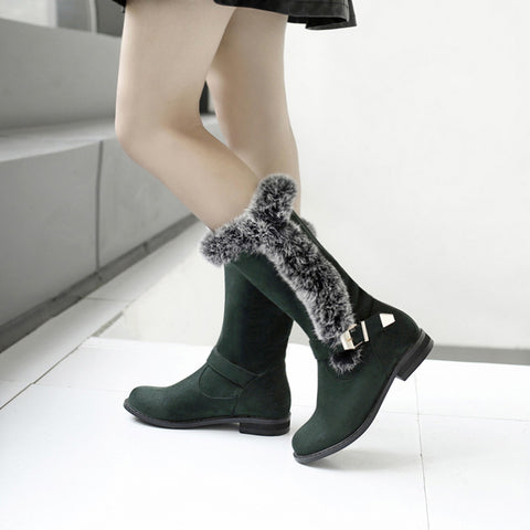 Suede Pure Color Round Toe Buckle Fur Mid-caf Low Heel Boots 42 Green