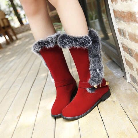 Suede Pure Color Round Toe Buckle Fur Mid-caf Low Heel Boots 41 Red