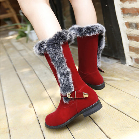 Suede Pure Color Round Toe Buckle Fur Mid-caf Low Heel Boots 42 Red