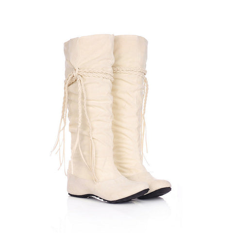 PU Pure Color Round Toe Hidden Heel Woven Strap Mid-calf Boots 9 White