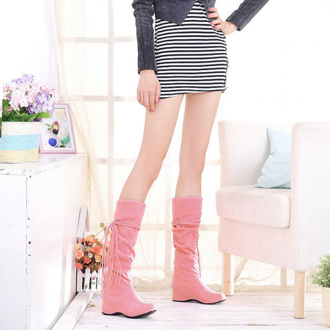 PU Pure Color Round Toe Hidden Heel Woven Strap Mid-calf Boots 9 Pink