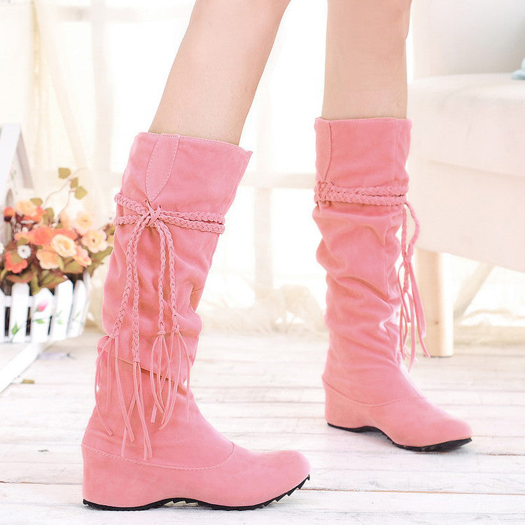PU Pure Color Round Toe Hidden Heel Woven Strap Mid-calf Boots 9.5 Pink