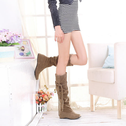 PU Pure Color Round Toe Hidden Heel Woven Strap Mid-calf Boots 9 Camel