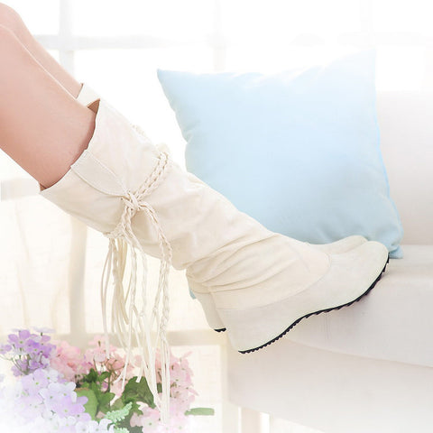 PU Pure Color Round Toe Hidden Heel Woven Strap Mid-calf Boots 9.5 White