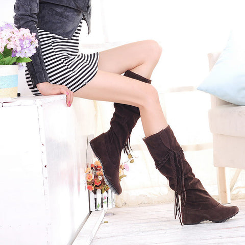 PU Pure Color Round Toe Hidden Heel Woven Strap Mid-calf Boots 9.5 Chocolate