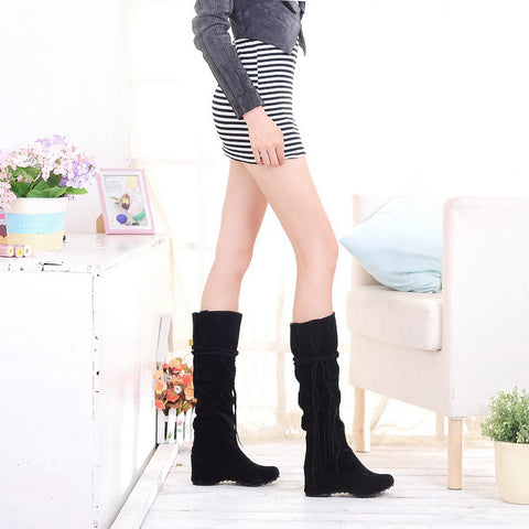 PU Pure Color Round Toe Hidden Heel Woven Strap Mid-calf Boots 9.5 Black