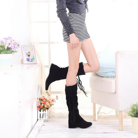PU Pure Color Round Toe Hidden Heel Woven Strap Mid-calf Boots 9 Black