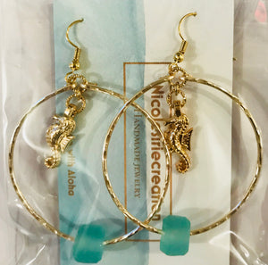 Handmade Gold Seahorse with Sea Glass Earrings