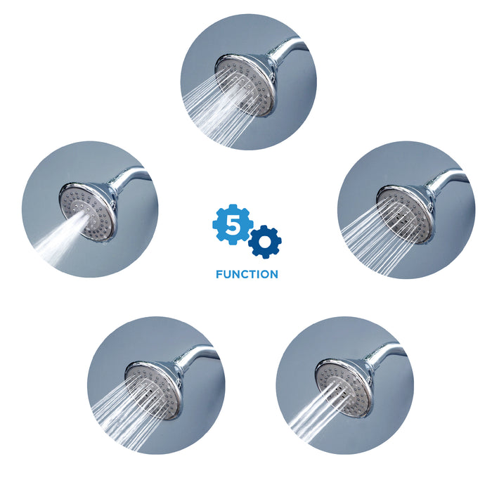 AirOxy Water Saving Shower Head 5 Flow in 1 - AO5R Pack of 3 - Eco365
