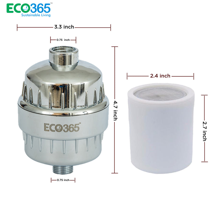 Shower Filter 2 Sets - 4 Additional Cartridge Free. - Eco365