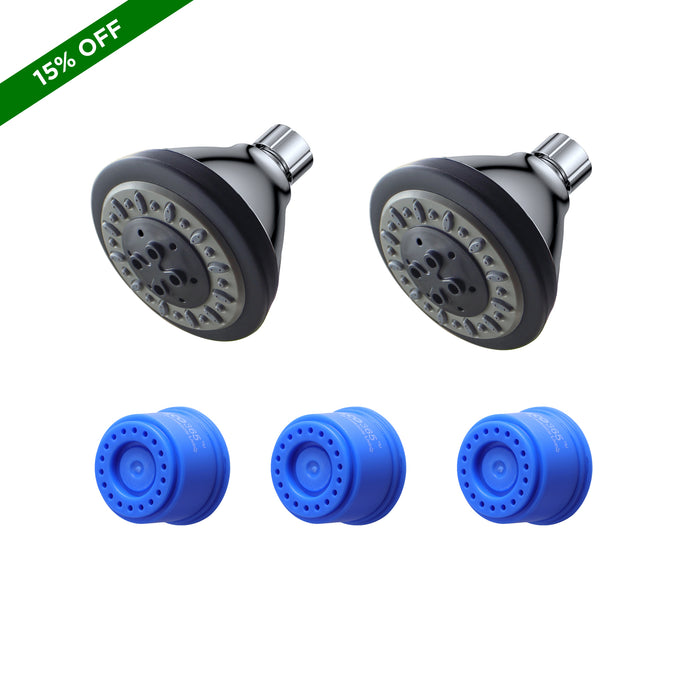 Eco365 3 Function shower heads pack of 2 and 3LPM shower flow aerator pack of 3