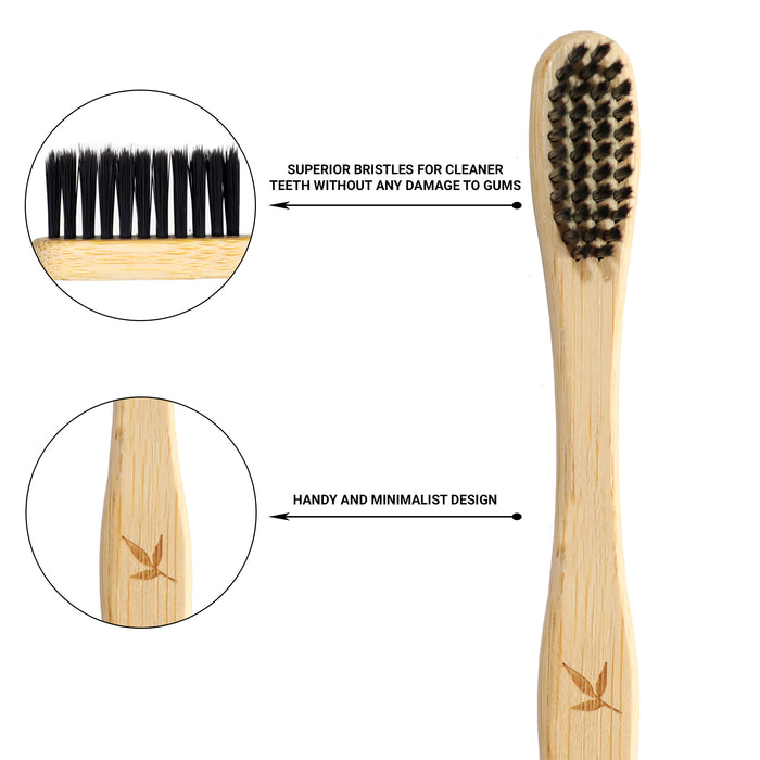 BAMBOO CHARCOAL TOOTHBRUSH - ECO FRIENDLY GIFT- HANDMADE - NATURAL DENTAL CARE PACK OF 2 - Eco365