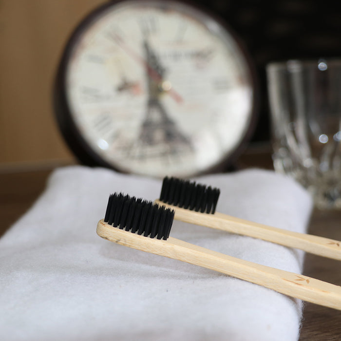 BAMBOO CHARCOAL TOOTHBRUSH - ECO FRIENDLY GIFT- HANDMADE - NATURAL DENTAL CARE PACK OF 6 - ECO365