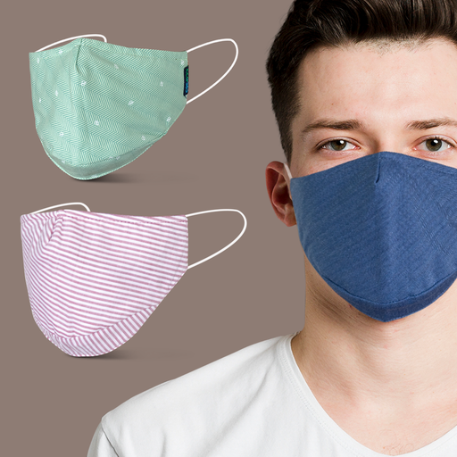 6Layered Multi-color Reversible Cotton Mask - Pack of 3 - Eco365