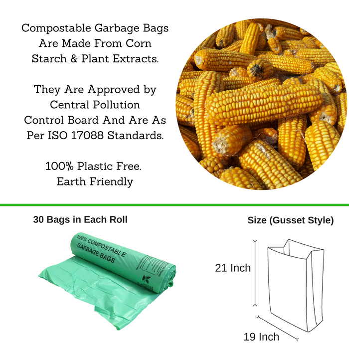 Compostable Garbage Bag, 19 X 21 Inches