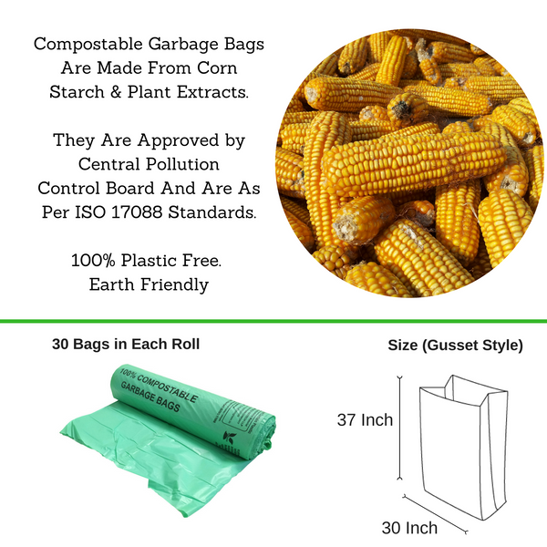 Compostable Garbage Bag, 30 X 37 Inches