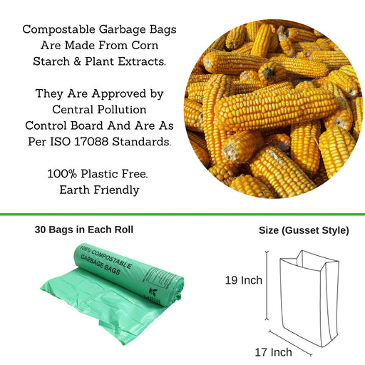 Compostable Garbage Bag, 17 X 19 Inches - Pack of 12 - Eco365