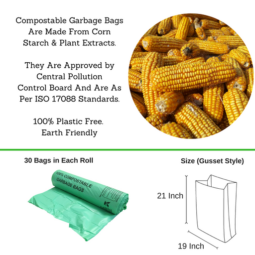 Compostable Garbage Bag, 19 X 21 Inches - Pack of 24