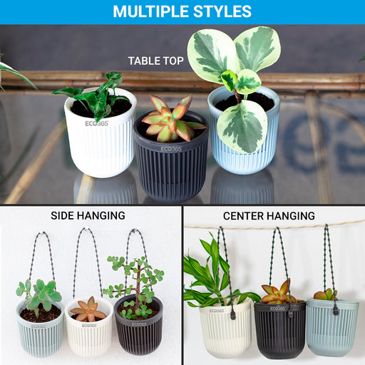 ECO365 Hanging Planter Pots(1White, 1Grey, 1Blue)- Pack of 3