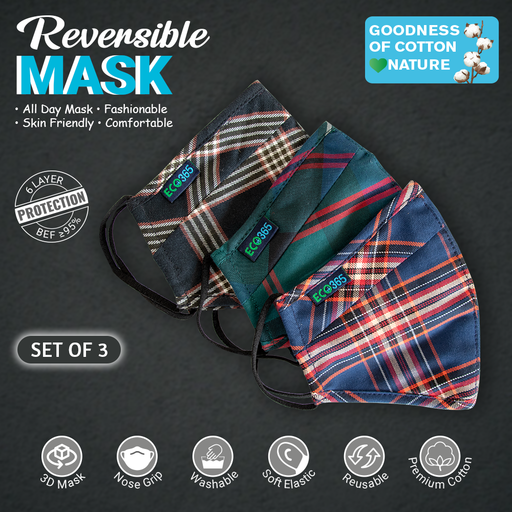 6Layered Reversible Cotton Trim Mask(Pack of 3) - Eco365