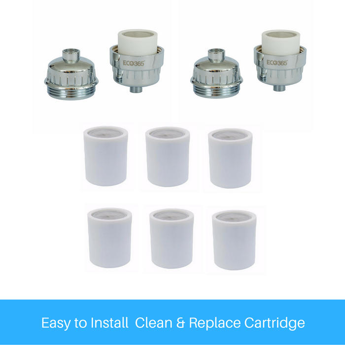 Shower Filter 2 Sets - 6 Additional Cartridge Free. - Eco365