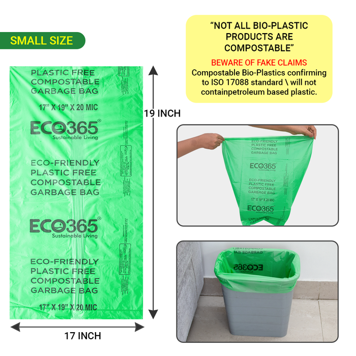 Home Compostable Garbage Bags - 17x19 Small (Certified By Govt, Pack of 12=180pcs) - ECO365