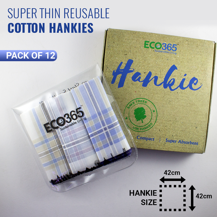 Slim Cotton Hankies - Colored Stripes (Pack of 12) - Eco365