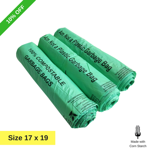 Compostable Garbage Bag, 17 X 19 Inches (Pack of 3-90pcs) - ECO365