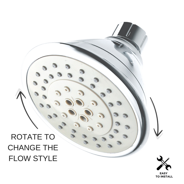 AirOxy Water Saving Shower Head 5 Flow in 1 - AO5R Pack of 3