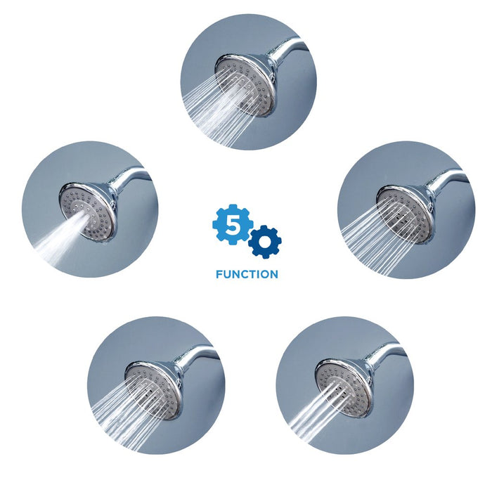 AirOxy 5 Function Shower Head Pack of 2 + 3 LPM Shower Flow Aerator Pack of 3 - Eco365