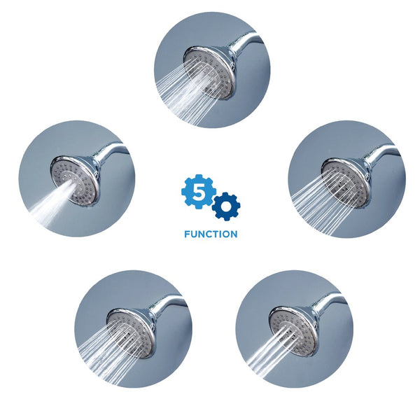 AirOxy 5 Function Shower Head Pack of 2 + 3 LPM Shower Flow Aerator Pack of 3