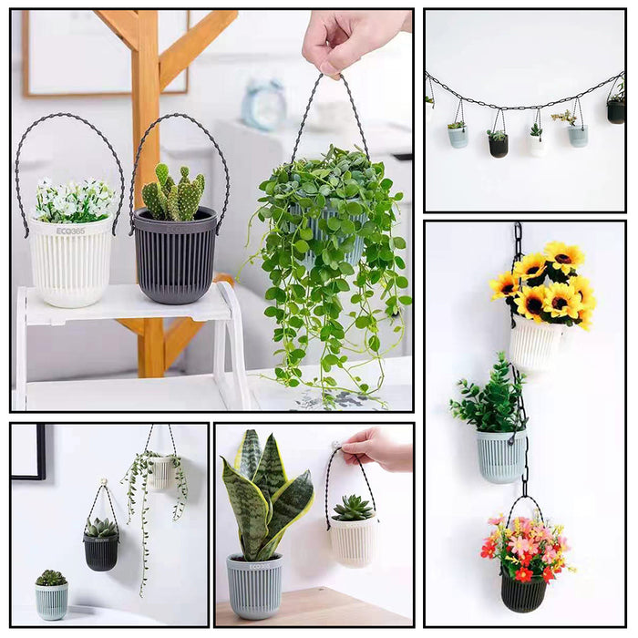 ECO365 Hanging Planter Pots (2White, 2Grey, 2Blue)- Pack of 6 - Eco365