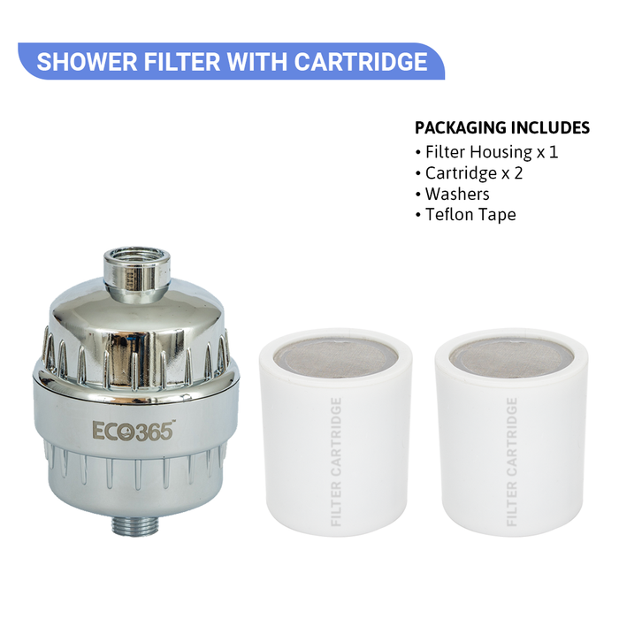 Shower Filter With 2 Cartridge - Universal Size - DIY - ECO365