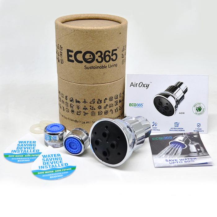 Water Saving Kit Of 2 Water Saving Aerators and 1 Airoxy Shower Head - Eco365