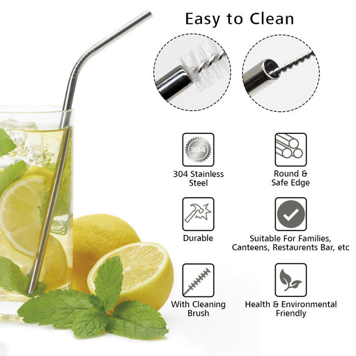 Stainless Steel Straw (Straight Straw, Bent Straw, Cleaning brush) - ECO365