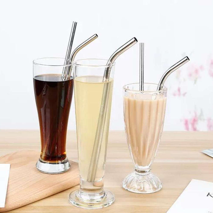 ECO365 Reusable Stainless Steel Straw (Straight Straw, Bent Straw, Cleaning brush) - Eco365