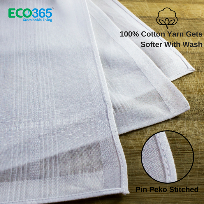 Slim Hankies Pack of 6 - Full White - Eco365