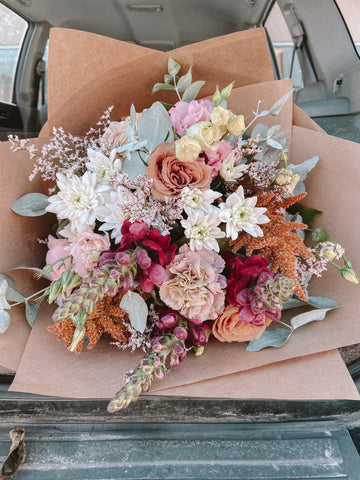 Burgundy, burnt orange and pastel coloured flower bouquet available for flower delivery in the Adelaide Hills